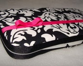 Designer Travel Wipes Case with Diaper Strap- Black Dandy Damask With Hot Pink Accents