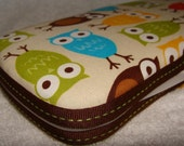 Designer Travel Wipes Case with Diaper Strap- Bermuda Owls on Cream