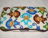Designer Travel Wipes Case with Diaper Strap- Monkeys in Royal