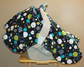 Carseat Canopy in Hoopla Dot lagoon with Weighted Corners and COTTON Inside