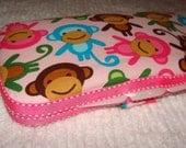Designer Travel Wipes Case with Diaper Strap- Monkeys Spring
