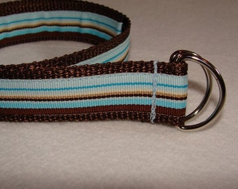 Children's Brown and Blue Striped D Ring Belt- You PICK the Size