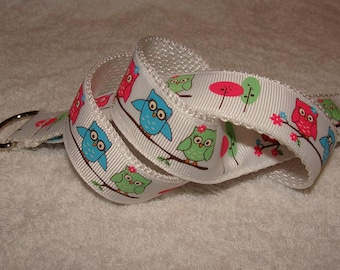 Fun Owls on White Children's D-Ring Belt (If you would like a Velcro Closure,  Just Ask)