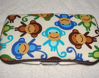 Designer Travel Wipes Case with Diaper Strap- Monkeys in Royal