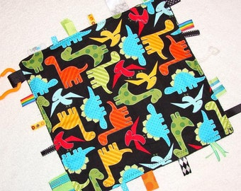 Sensory Toy | Tag Blanket | Lap Blanket | Lovey | Tags | Dinos on Black
