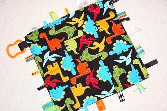 Sensory Toy | Tag Blanket | Lap Blanket | Lovey | Tags | Dinos on Black