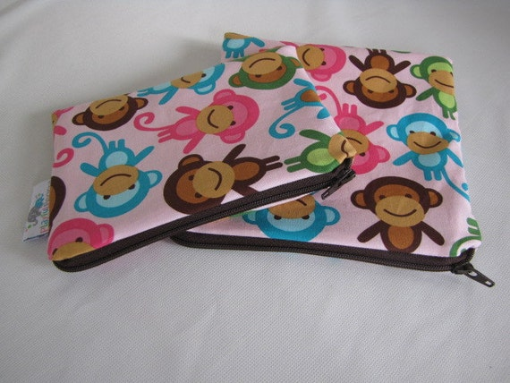 Reusable Machine Washable Zippered BPA-Free Snack-Loc Large Sandwich Small Snack Bag Set - Monkeys Spring Pink Blue