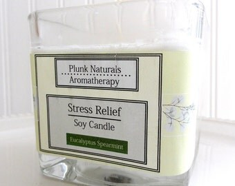 SALE STRESS RELIEF Natural Spearmint and Eucalyptus Soy Candle