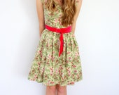 Green floral tea dress - sample sale size 8 only