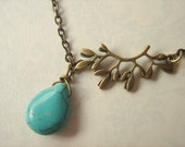 Sprig. Branch with Leaves and Turquoise Drop Necklace.