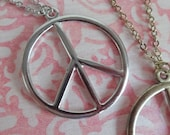 Peace Sign Long Necklace. Silver or Antique Brass Tone.