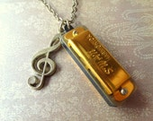 Tiny Musical. Mini Harmonica Necklace with G-Clef Charm.