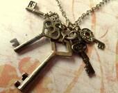 Vintage Style Keys Necklace. Antique Brass Tone.