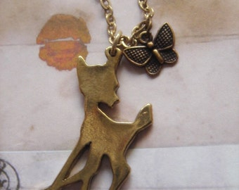 Little Fawn. Bambi Inspired Charm Necklace.