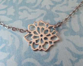 Tiny Chrysanthemum Charm Necklace. Silver Tone.