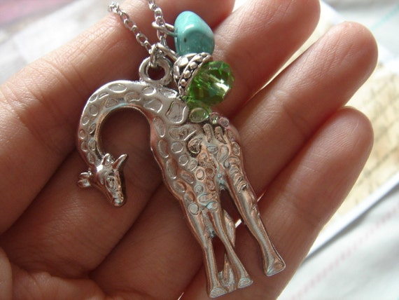 African Adventure. Giraffe with Turquoise and Crystal Necklace.