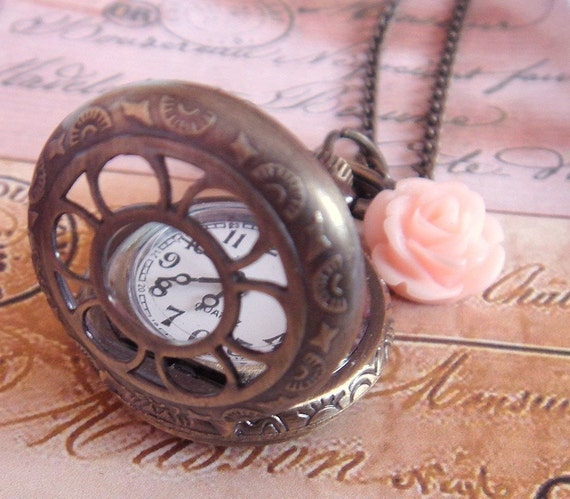 Every Flower Blooms. Small Pocket Watch Necklace in Antique Bronze.