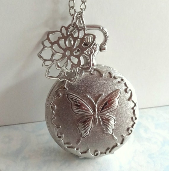 Vintage Style Silver Butterfly Pocket Watch Necklace with Chrysanthemum Flower Charm. (Medium Size)