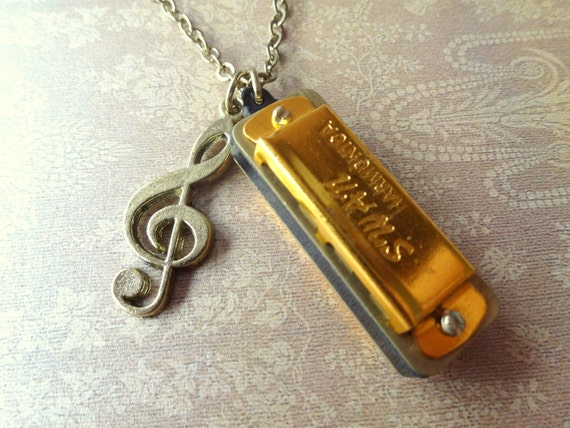 tiny musical mini harmonica necklace with g clef charm
