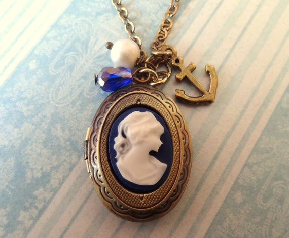 The Captain's Wife. Cameo Locket Necklace with Anchor Charm. Antique Brass.