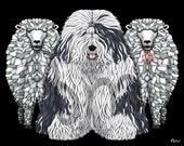 Reserved to Asa - Old english sheepdog large custom print