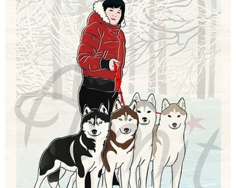 a girl with her dogs
