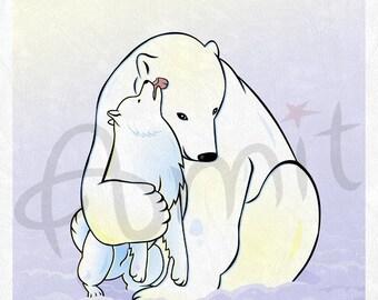 Samoyed and a polar bear