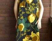 Vintage 60s Flower Mod Mini Dress Black Green Yellow XL