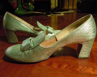 Vintage 60s silver glitter shoes US 6.5 Eur 36