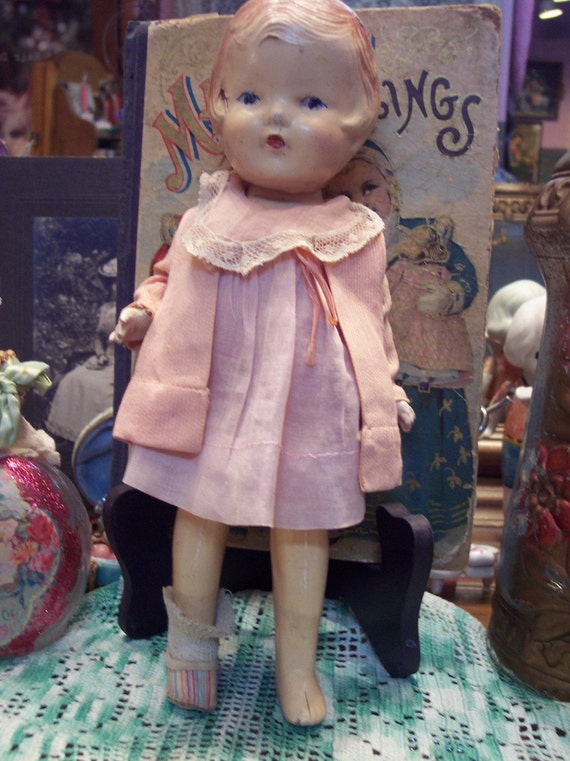Shabby Sweet Vintage Arranbee Composition Doll in Pink Outfit from Rustysecrets