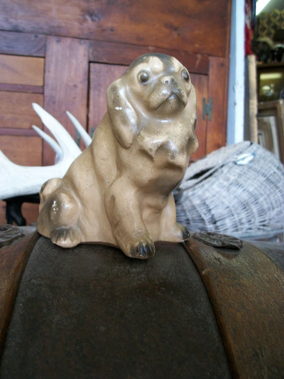Sweet Vintage Pug Dog Figurine Pottery Bank from Rustysecrets