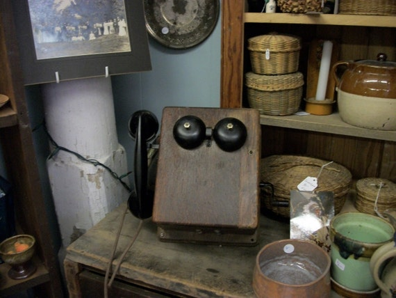 SALE - Antique Western Electric Bell Systems Wooden Crank Phone from Rustysecrets