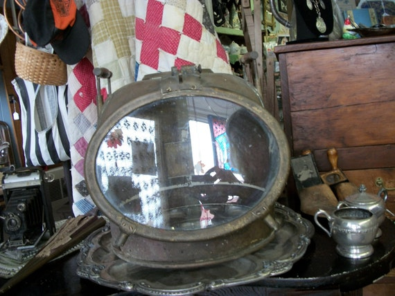 RESERVED for CHRIS -  Antique Large Heavy Brass Ship's Binnacle That Looks Like A Deep Sea Diving Helmet from Rustysecrets