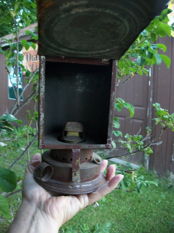 SALE - Antique Darkroom Kerosene Lantern With Old Red Paint from Rustysecrets