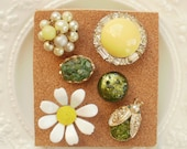 Lemon Lime Vintage Jewelry Thumbtacks / Push Pins