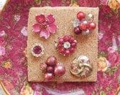 Rich Rose Pink Vintage Jewelry Thumbtacks / Push Pins