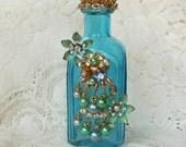 Vintage Jewelry Embellished Decorative Aqua Bottle
