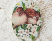 Little Brown Birds and Apple Blossoms Vintage Image Brooch
