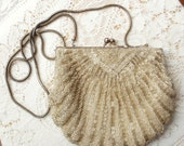 Vintage Champagne Beaded Shell Purse