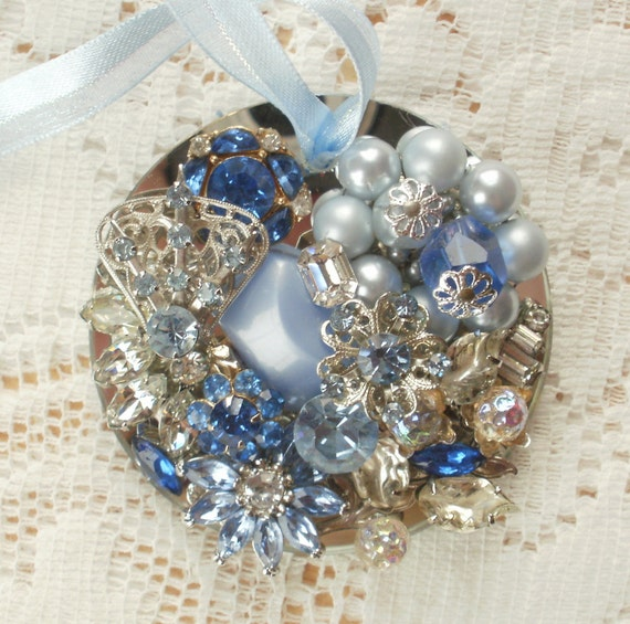 Clear, Light Blue, and Dark Blue Themed Vintage Jewelry Embellished Mirrored Ornament