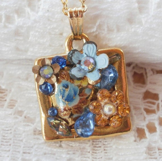 Blue and Gold Vintage Jewelry Pieces Collage / Montage Pendant / Necklace