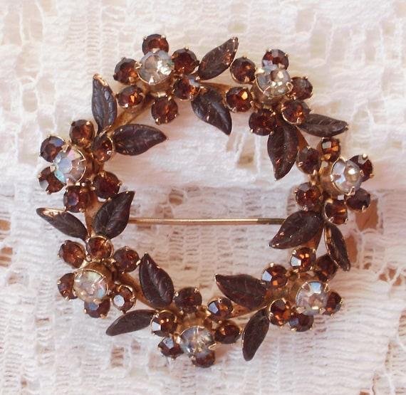 Amber Rhinestone Flower Wreath Pin