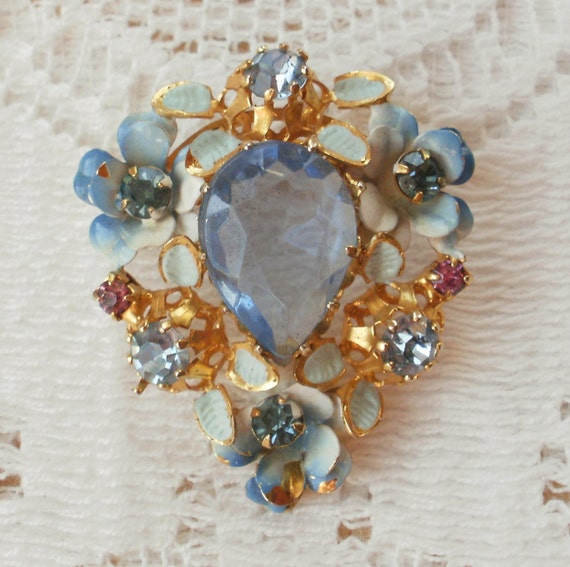Light Blue and Pink Flower and Rhinestone Pin from Austria