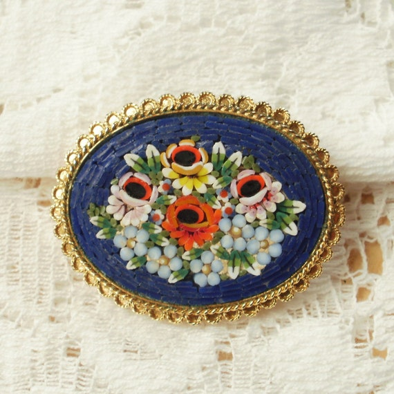 Roses and Blue Flowers Micro Mosaic Brooch / Pendant