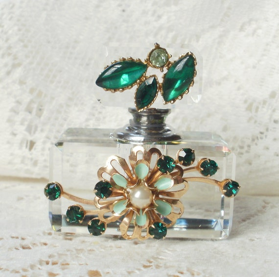 Emerald and Mint Green Vintage Jewelry Embellished Perfume Bottle