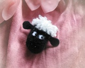 French Felt Brooch Cute Black Sheep Pin Handmade Softie Accessory - Hand made in France