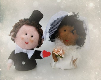 Bride and Groom wedding cake topper - Black and White Bride and Groom - Bridal OOAK Custom orders welcome - Hand made in France