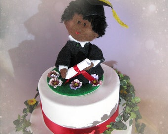 Personalized Graduation Party Cake Topper - customized gift for graduation student graduate - Felt OOAK sculpture ornament mascot custom