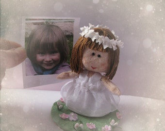 Custom Kid Cake Topper - Birthday, Baptism, Christening, Religious Communion Confirmation Party Personalized OOAK doll Hand made in France