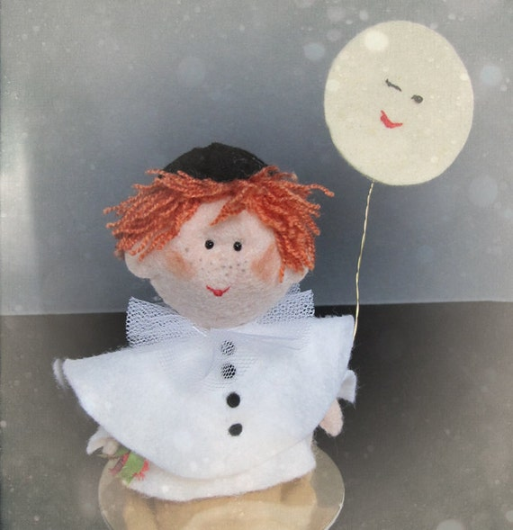 Pierrot and the Moon - felt sculpture ornament doll mascot - cute gift for anniversary, decoration or cake topper